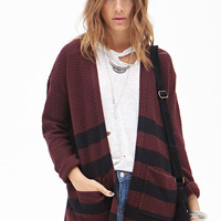 FOREVER 21 Striped Waffle Knit Cardigan