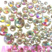 400 pcs 2mm - 6mm Resin Crystal AB round Rhinestones Flatback Mix SIZE ~ M1 - 30