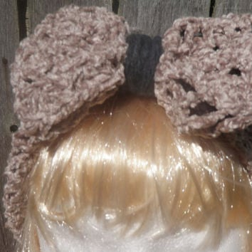 Crochet headband, crochet ear warmer, chenille headband with bow