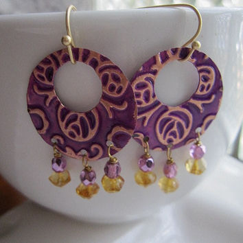 Copper Embossed Hoop Earrings Purple Patina Gold Purple Crystals Dangle