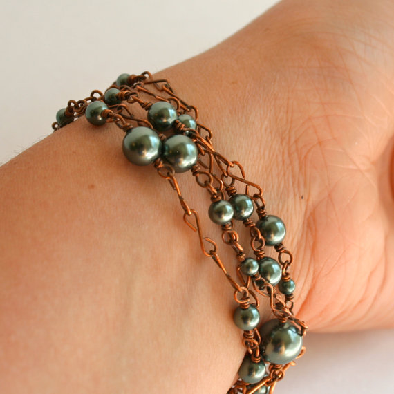Copper Green Pearl Necklace Long Multi-Wear Wire Wrapped Upcycled Necklace
