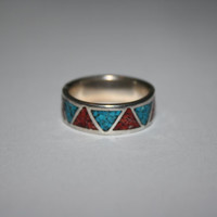 Aztec inspired Sterling Silver with Coral Red and Turquoise Stones Ring Vintage Sterling Silver Ring Size 8 - free ship US