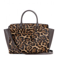 michael by michael kors - selma leather and calf-hair tote