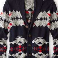 AEO Men's Patterned Shawl Cardigan (Multi)