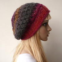 Slouchy Hat  Slouchy Beanie Hand Knit Hat Slouch Beret Multicolor Tam Wool Hat Winter Hat in Variegated Yarn Winter Accessories
