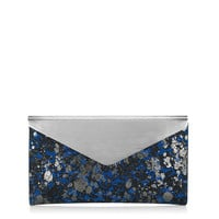 Aegean and Gunmetal Metallic Lace on Suede Clutch Bag with Brushed Metallic Flap | Charlize | Autumn Winter 14 | JIMMY CHOO Autumn Winter 14