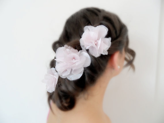 Three wedding hair flower, hair accessories, bridal hair accessories, wedding accessories, soft pink,