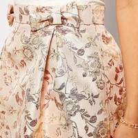 ASOS Premium Skirt in Pink Floral Jacquard with Bow Detail
