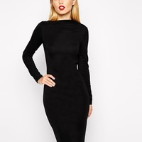 ASOS Pencil Dress with Asymmetric Neck and Long Sleeves