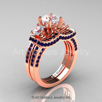 French 14K Rose Gold Three Stone Blue and White Sapphire Wedding Ring, Engagement Ring Bridal Set R182S-14KRGBSWS