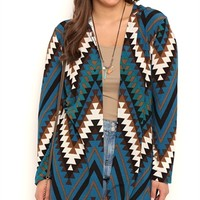 Plus Size Navajo Print Long Sleeve Duster Sweater with Hood