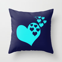 Hearts Navy Turquoise Throw Pillow by Beautiful Homes