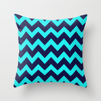 Chevron Navy Turquoise Throw Pillow by Beautiful Homes