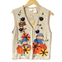 Scarecrow and Pumpkins Ugly Fall Halloween Thanksgiving Vest