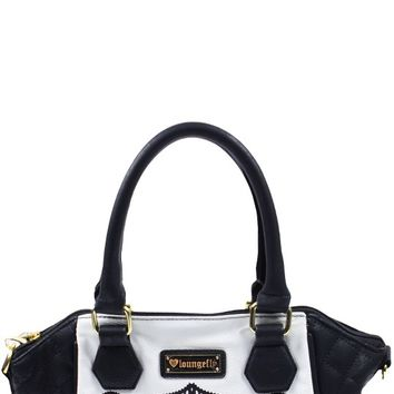 Skull With Quilting Crossbody Bag in Black/White | Blame Betty
