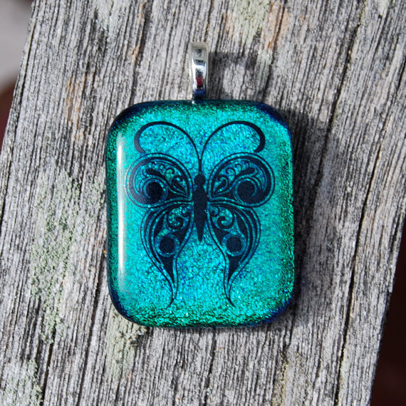 CIJ SALE Butterfly Dichroic Fused Glass Pendant Handmade Jewelry Blue Green Teal
