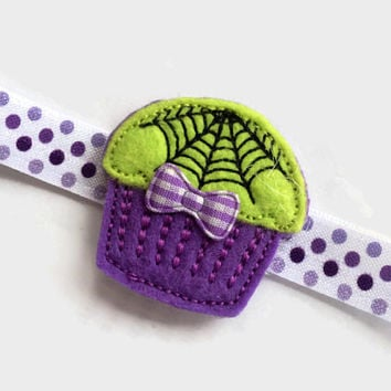 Halloween Cupcake Headband - Purple Halloween Headband - Purple Polka Dot Headband - Purple Headband for Girls - Toddler Headband