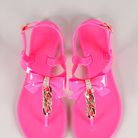 Bamboo Aloha-01 Neon Bow and Chain Slingback Jelly Flat Sandal