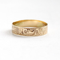 Antique Art Nouveau 10k Yellow Gold Men's Wedding Band Ring - Size 11 Vintage Early 1900s Floral Vine Fine Wedding Jewelry