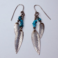 Vintage Sterling Feather Turquoise Earrings Silver Earrings Sterling Earrings Sterling Silver Feather Dangle Earrings Native American Signed