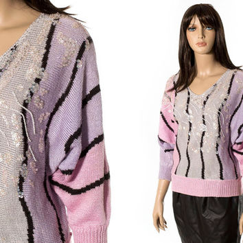 Sequin art deco batwing sweater sequin top