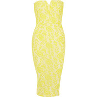 Yellow lace bandeau dress - bodycon dresses - dresses - women