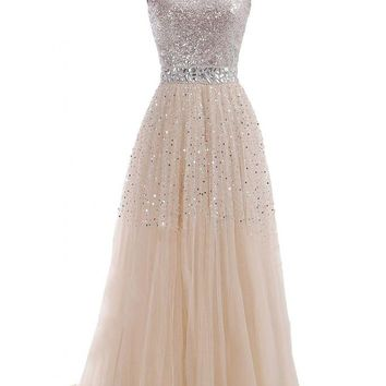 VILAVI Women's A-line Sweetheart Long Tulle Sequin Crystal Prom Dresses