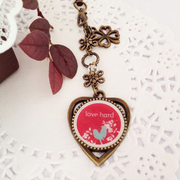 Love Hard Antique Bronze Heart Pendant Bag Charm, Purse Charm, Zipper Pull Charm, Phone Charm, Planner or Filofax Charm