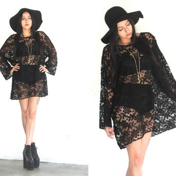 Vintage 90s SHEER LACE Floral Long Sleeve Mini Black Dress // Hipster Witchy Boho Gypsy Grunge // XS Extra Small / Small / Medium / Large
