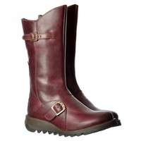 Fly London Mes 2 Calf High Winter Boot Low Wedge Heel Cleated Sole - Purple, Camel, Diesel - Fly London from Onlineshoe UK