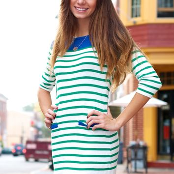 Striped Scoop Neck Sweater Dress
