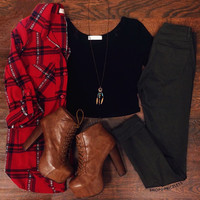Always Forever Plaid Top - Burgundy