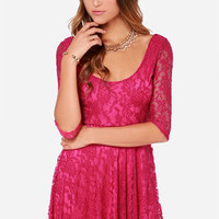 LULUS Exclusive Head Over Feels Fuchsia Lace Dress