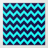 Chevron Navy Turquoise Canvas Print by Beautiful Homes