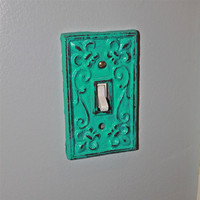Teal Blue Decorative Light Switch Plate/ Single Switch Cover/ Fleur de lis/ Bright Cast Iron/ Painted Metal/ Shabby Chic