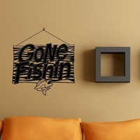 Gone Fishin Sign Decal Sticker Wall Art Graphic Fish Ocean Scuba Dive