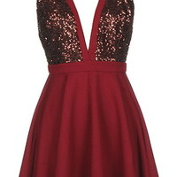 Mulberry Cider Dress | Burgundy Red Sequin Skater Dresses | RicketyRack.com
