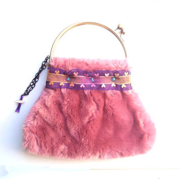 Superfurry retro pink clutch, hand embroidered with organza, satin ribbons. Different design on each side. Shabby chic. OOAK