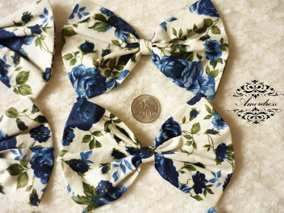 Set of 6  FABRIC BOW Craft Supplies for Hair Clip, Head Piece, Headband, Bow Tie, Scrapbook, Shoe Clip, Etc...