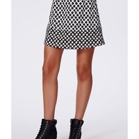 Missguided - Ania Contrast Floral Print A-Line Skirt Monochrome