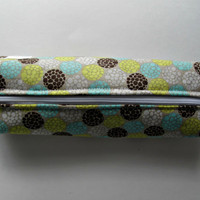 Fabric Boxed Pencil, Craft or Cosmetics Case, in Spring Wedding Flower Bouquet