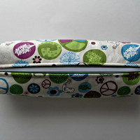 Fabric Boxed Pencil, Craft or Cosmetics Case, in Green Peace