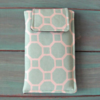 Fabric iPhone or iPod Touch Sleeve Cover Case, in Aqua Honeycombs