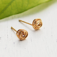 Stud earrings, 14k gold filled, Gold post earrings, Gold knot post earring, tiny gold stud earring, silver earrings