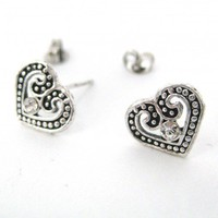 Small Heart Textured Stud Earrings in Silver with Rhinestone Detail