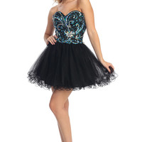 Short Prom Dress with Contrast Beading- Black/Blue