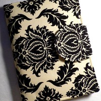 Kindle Cover, Ereader cover, Book Style, Damask Black , Kindle Touch Cover, Kindle Fire Cover,