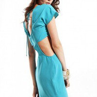 Crepe Fluttery Dress w/ Cutouts in Aqua