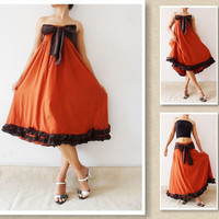 Bow  Sweet orange cotton Dress