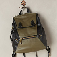 Colorblocked Leather Backpack by Anthropologie Grey Motif One Size Bags